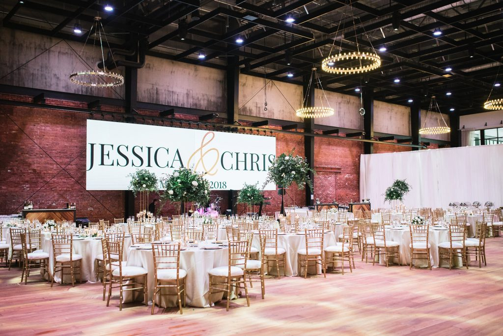 Gathering tables and LED screen